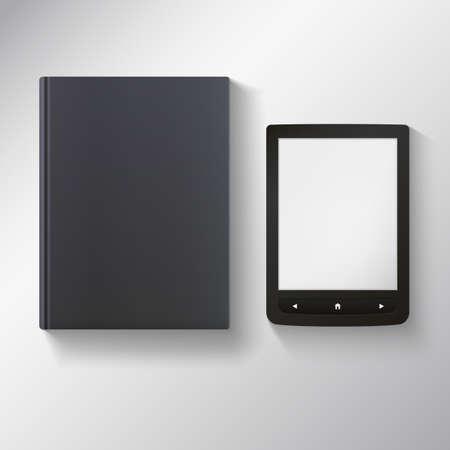 ereader: E-book with blank black book. Vector illustration for your presentation and design.