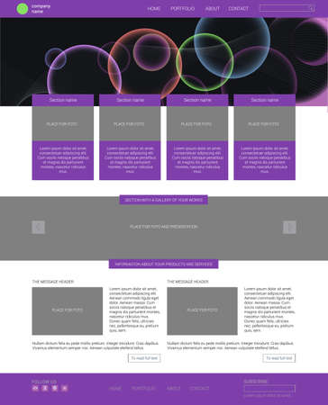 Website template. Modern flat one page website design template. with banner.