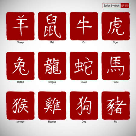 snake calligraphy: Chinese calligraphy zodiac on red background. Hieroglyphics year. Vector illustration.