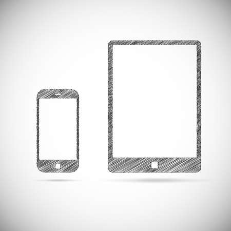 Hand-drawn electronic devices. Ssmart phone and tablet doodle drawing on white