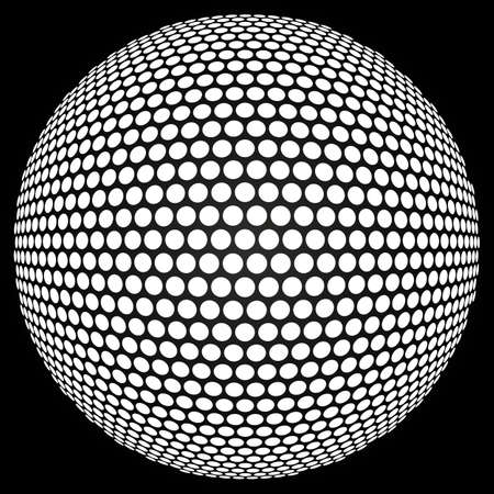 disco ball: Dotted halftone sphere. Retro party background with disco ball