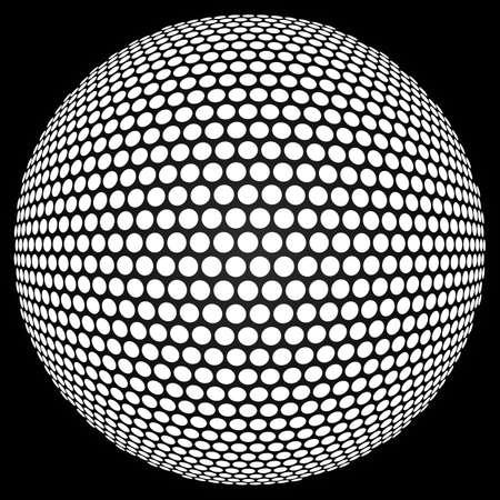 pelota: Esfera de semitonos de puntos. Fondo retro del partido con la bola de discoteca