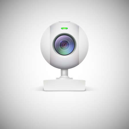 Realistic white webcam icon. Vector illustration on white background
