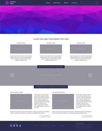 blog design: Website template. Modern flat one page website design template. with blue banner. Illustration