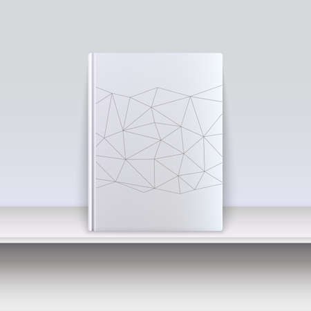 blank magazine: Hardcover book with techno pattern on a shelf. Illustration