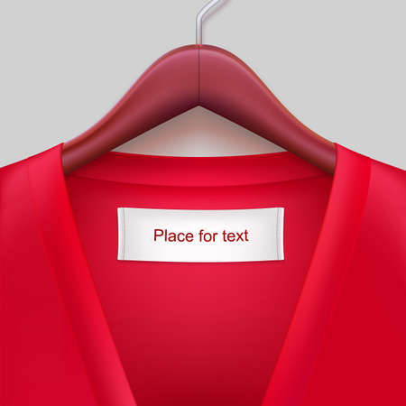 T-shirt with label hanging on a hanger. The template for your design or advertising messages.