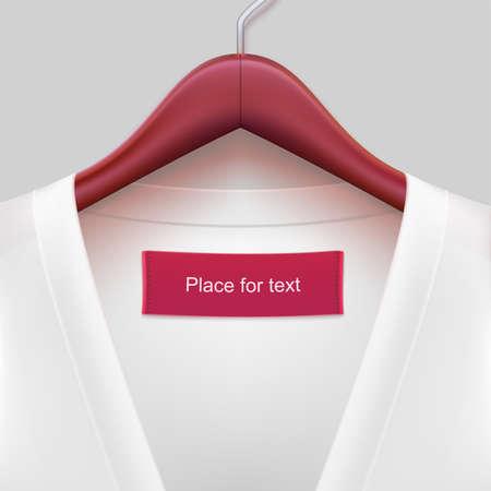 ropa colgada: Chaqueta con la etiqueta colgando de una percha. La plantilla para su dise�o o publicidad mensajes. Vectores
