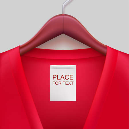Jacket with label hanging on a hanger. The template for your design or advertising messages. Imagens - 36983259