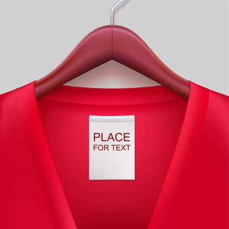 Jas met label opknoping op een hanger. De sjabloon voor uw ontwerp of reclame-uitingen. Stock Illustratie