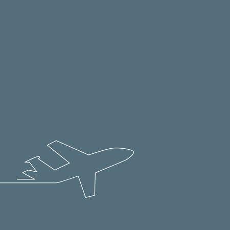 Background for start up. Plane taking off, outline vector illustration. Illustration