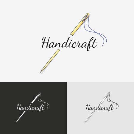 sew: Logo de coser. Labor de aguja de coser o logotipo con aguja e hilo para coser. Vectores