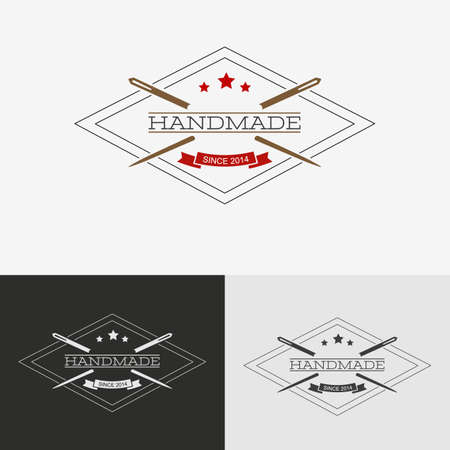 Sewing logo. Needlework or sewing logo with needle and thread for sewing. Vector