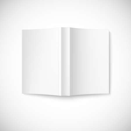 Open blank book cover on white background, top view.