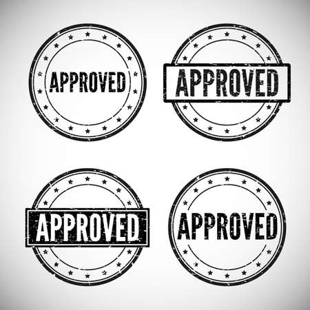 accepted: Approved grunge stamp on white background, vector illustration.