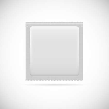 condones: Envases de papel en blanco. Medicina drogas o condones Vectores