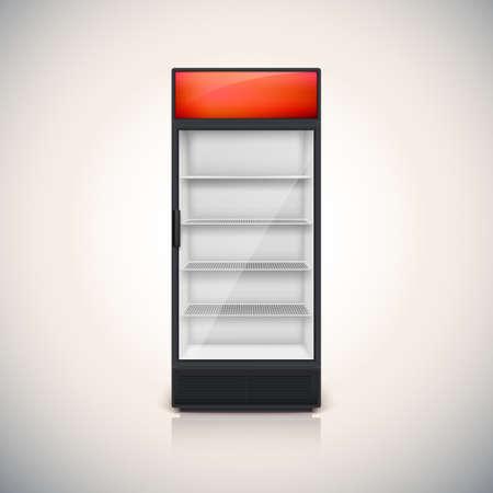 Koelkast met glazen deur, mock-up op een witte achtergrond. Stock Illustratie