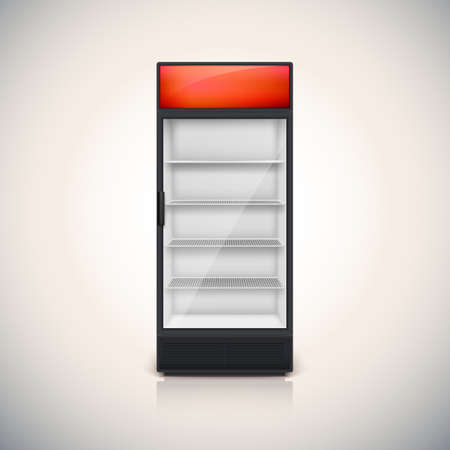 Fridge with glass door, mock-up on a white background.