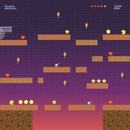8-bit video game locatie, arcade games ster bom coin trappen Stock Illustratie