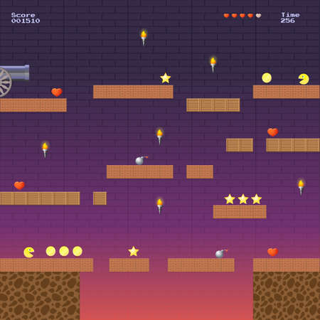 8-bit video game location, arcade games star bomb coin stairs