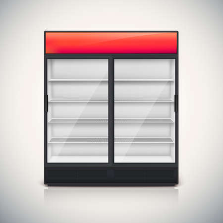 Double fridge with glass door, mock-up on a white background.