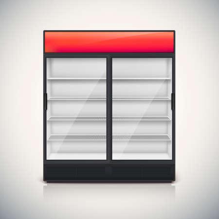 Dubbele koelkast met glazen deur, mock-up op een witte achtergrond.