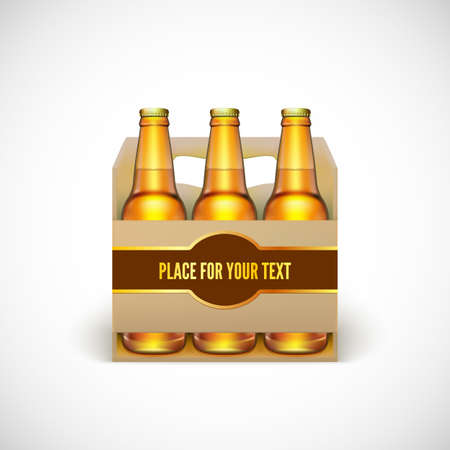 cold pack: Packaging of beer isolated on white background. Illustration