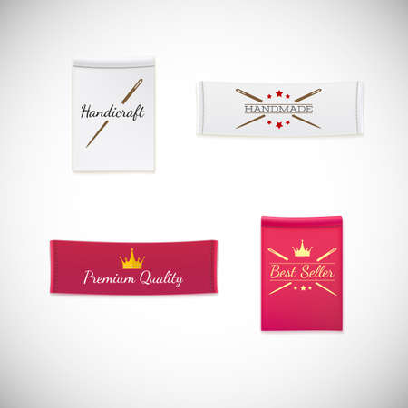 Vector realistic clothing label. Different fabric labels with stitching and promotional text and symbols Vectores