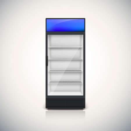 supermarket: Fridge with glass door, mock-up on a white background.