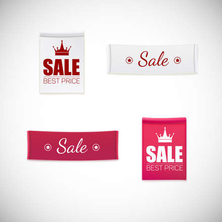 stitching: realistic clothing label. Different fabric labels with stitching and advertising text