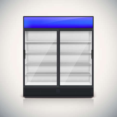 chiller: Double fridge with glass door, mock-up on a white background.