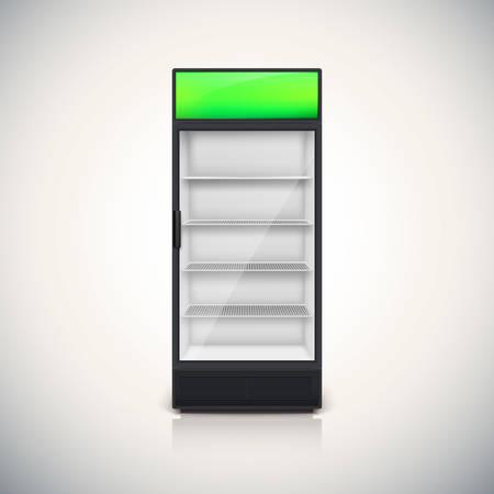 Glass Door Fridge With Door Handle Open On The Right And Left