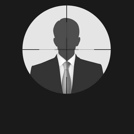 scope: Sniper scope crosshair man silhouette.  Illustration