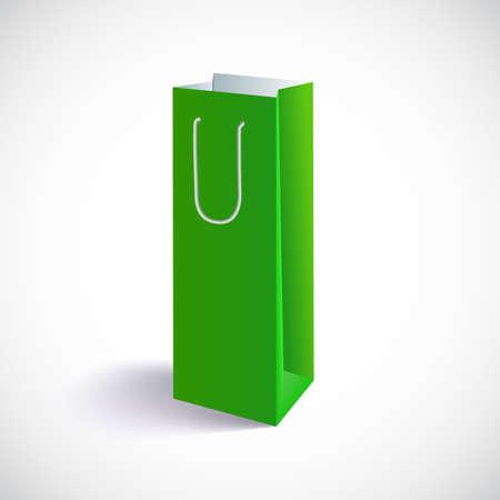 carrier bag: Carrier paper bag. Green shopping bag, vector eps10 illustration