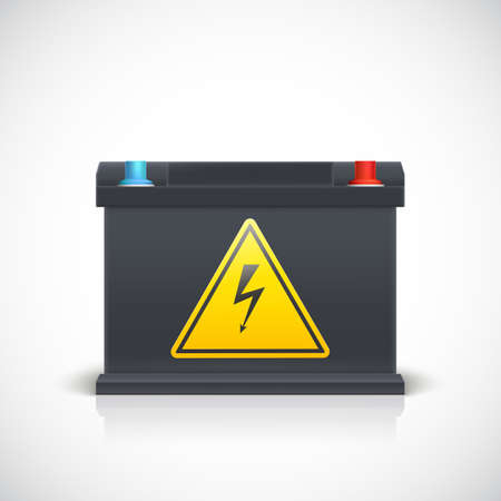 battery acid: Car battery, front view. Isolated on white background