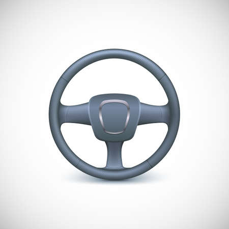 airbag: Steering wheel, isolated on the white background. Realistic vector illustration. Illustration