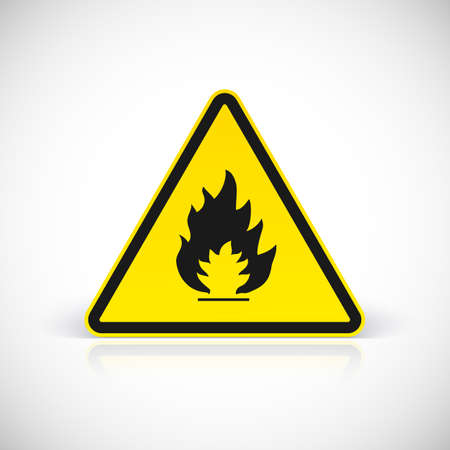 Attention flammable signs. Fire symbol vector illustration for your design and presentation.
