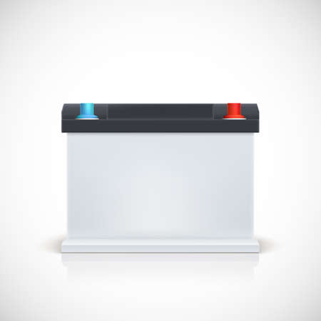 12v: Auto battery, front view. Isolated on white background