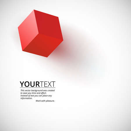 bussines: Background for presentations with red cube, vector illustration for your bussines