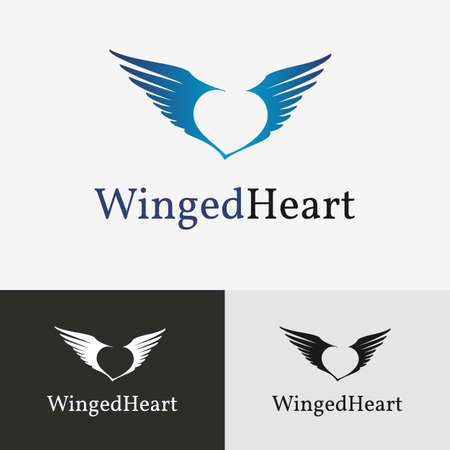 heart with wings: Flying wings template for brending and identity. Illustration