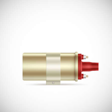 inductor: Igniter coil car part.  Vector illustration isolated on white background