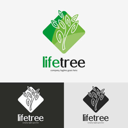 Green tree logo. Vintage emblem with detailed vector illustration, icon