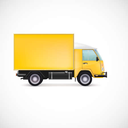 truck trailer: Delivery Car. White commercial vehicle, vector illustration for your business