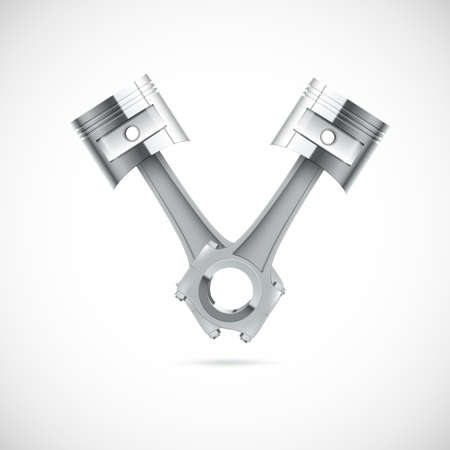 Two pistons on white background. Vector illustration for you.