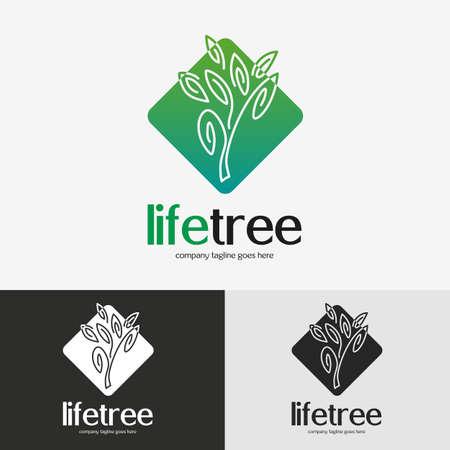 Green tree logo. Vintage emblem with detailed vector illustration, icon