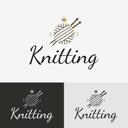 Hand knit logo, badge or label. Vector illustration design elements. Çizim