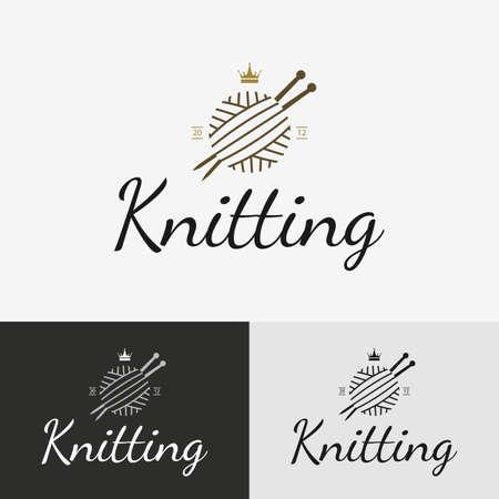 Hand knit logo, badge or label. Vector illustration design elements. Vectores