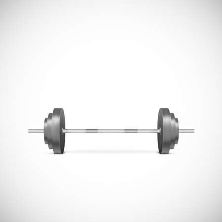 weights: Metal barbell. Illustration of gym icons, weights realistic, vector illustration