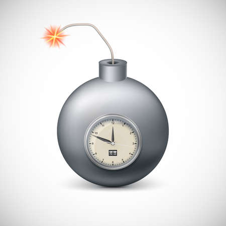 detonator: Dynamite with clock. Illustration on white background for your design and presentation.