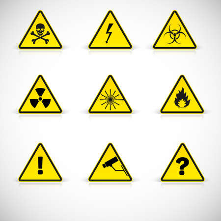 Attention flammable signs. Warning simbol, vector illustration for your design and presentation.