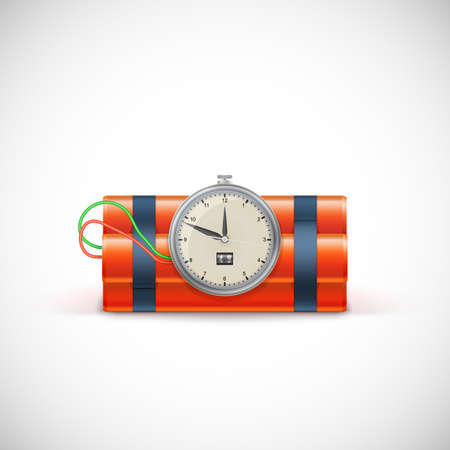 explosive watch: Bomb with clock. Illustration on white background for your design and presentation.